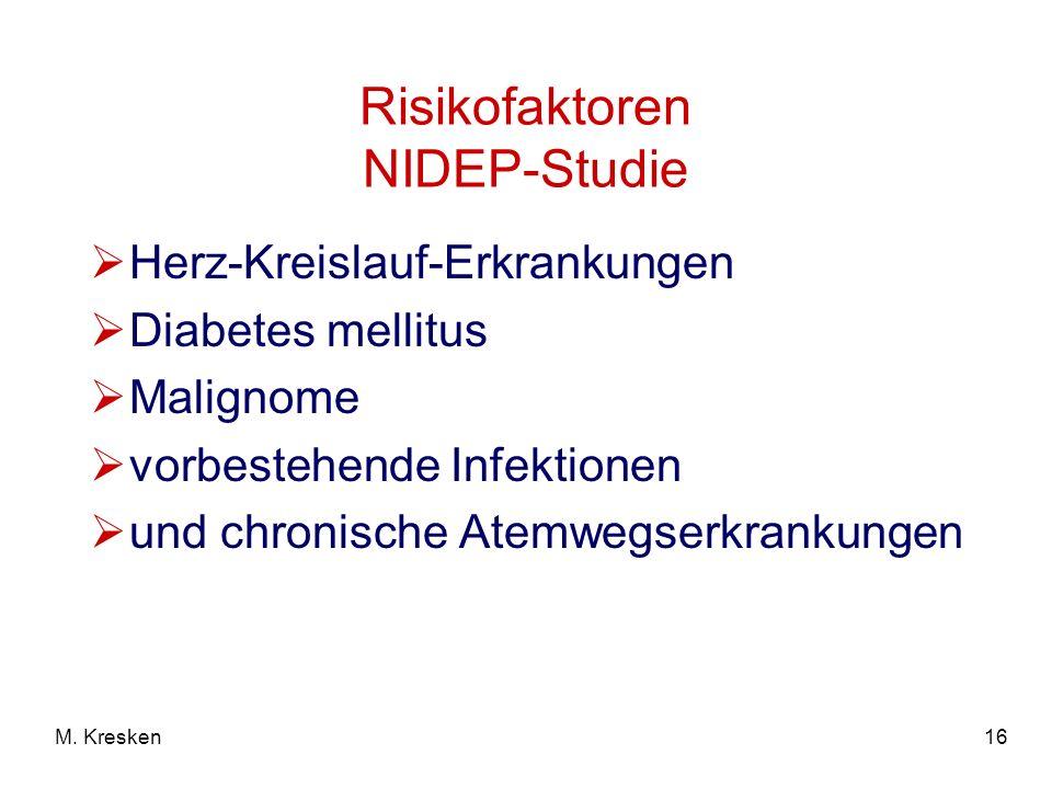 16M. Kresken Risikofaktoren NIDEP-Studie Herz-Kreislauf-Erkrankungen Diabetes mellitus Malignome vorbestehende Infektionen und chronische Atemwegserkr