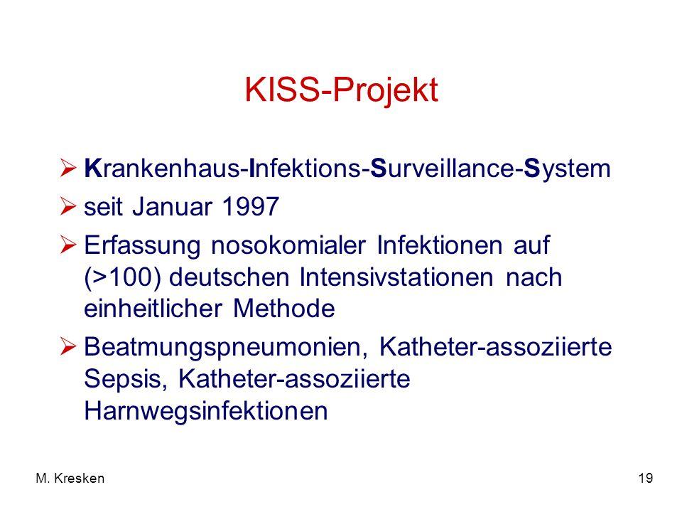 19M. Kresken KISS-Projekt Krankenhaus-Infektions-Surveillance-System seit Januar 1997 Erfassung nosokomialer Infektionen auf (>100) deutschen Intensiv