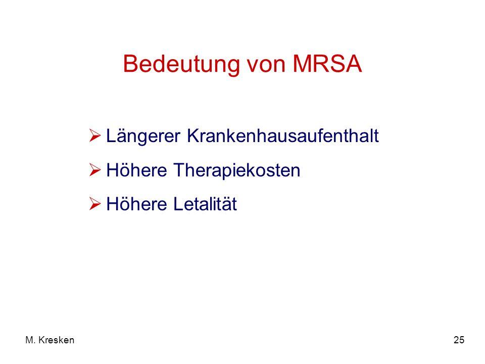 25M. Kresken Bedeutung von MRSA Längerer Krankenhausaufenthalt Höhere Therapiekosten Höhere Letalität