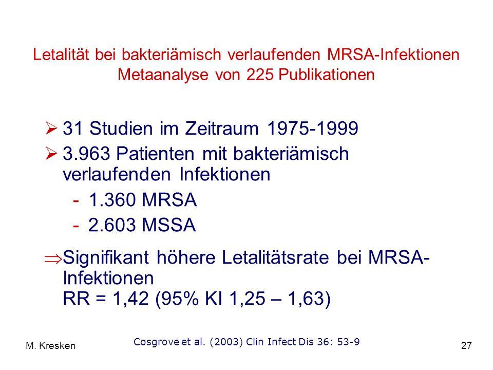 27M. Kresken Letalität bei bakteriämisch verlaufenden MRSA-Infektionen Metaanalyse von 225 Publikationen 31 Studien im Zeitraum 1975-1999 3.963 Patien