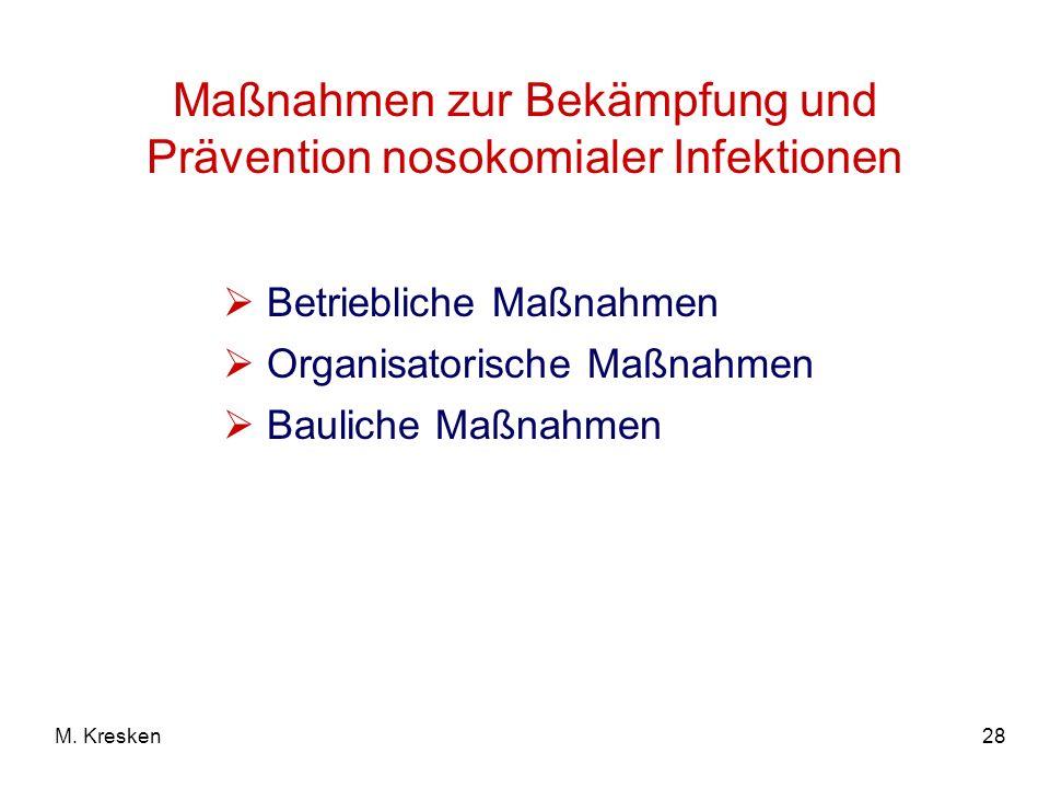 28M. Kresken Maßnahmen zur Bekämpfung und Prävention nosokomialer Infektionen Betriebliche Maßnahmen Organisatorische Maßnahmen Bauliche Maßnahmen