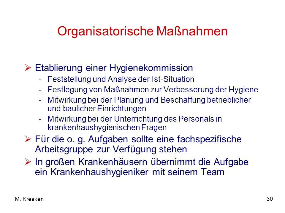30M. Kresken Organisatorische Maßnahmen Etablierung einer Hygienekommission -Feststellung und Analyse der Ist-Situation -Festlegung von Maßnahmen zur