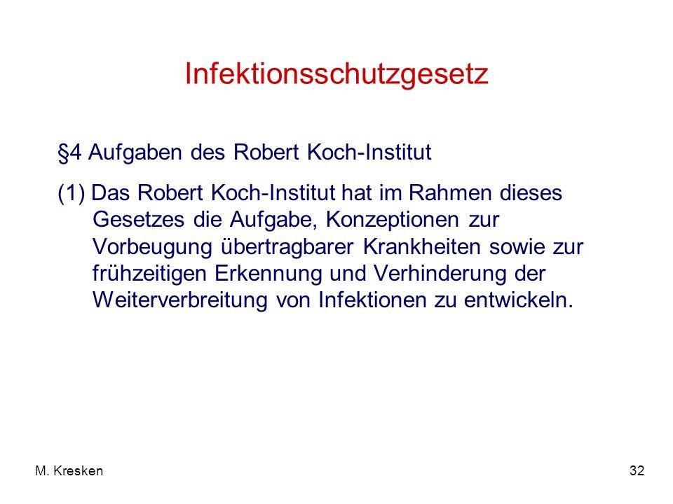 32M. Kresken Infektionsschutzgesetz §4 Aufgaben des Robert Koch-Institut (1) Das Robert Koch-Institut hat im Rahmen dieses Gesetzes die Aufgabe, Konze