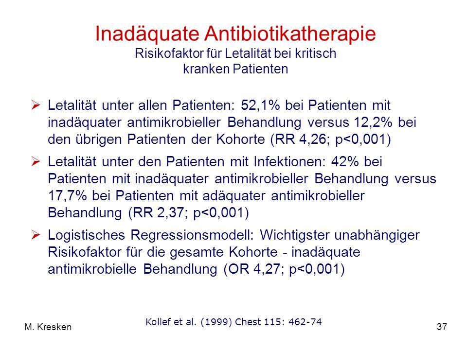 37M. Kresken Inadäquate Antibiotikatherapie Risikofaktor für Letalität bei kritisch kranken Patienten Letalität unter allen Patienten: 52,1% bei Patie