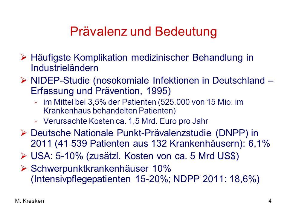 4M. Kresken Prävalenz und Bedeutung Häufigste Komplikation medizinischer Behandlung in Industrieländern NIDEP-Studie (nosokomiale Infektionen in Deuts