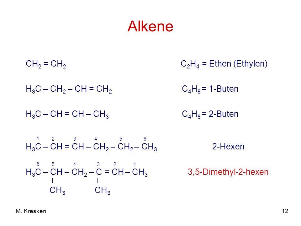 12M. Kresken Alkene CH 2 = CH 2 C 2 H 4 = Ethen (Ethylen) H 3 C – CH 2 – CH = CH 2 C 4 H 8 = 1-Buten H 3 C – CH = CH – CH 3 C 4 H 8 = 2-Buten H 3 C –