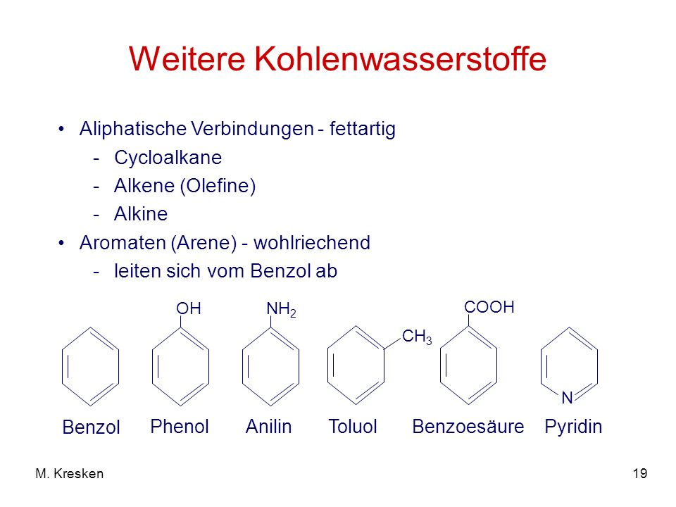 19M. Kresken Weitere Kohlenwasserstoffe Aliphatische Verbindungen - fettartig -Cycloalkane -Alkene (Olefine) -Alkine Aromaten (Arene) - wohlriechend -