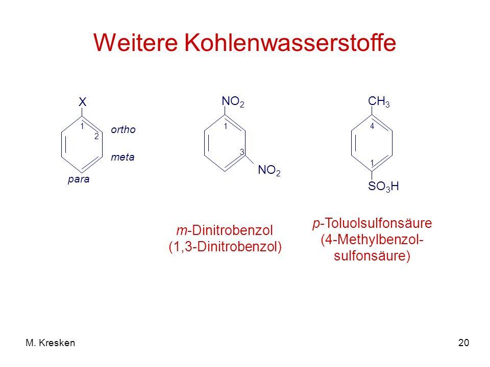 20M. Kresken Weitere Kohlenwasserstoffe X ortho meta para 1 2 m-Dinitrobenzol (1,3-Dinitrobenzol) NO 2 1 3 CH 3 SO 3 H 4 1 p-Toluolsulfonsäure (4-Meth