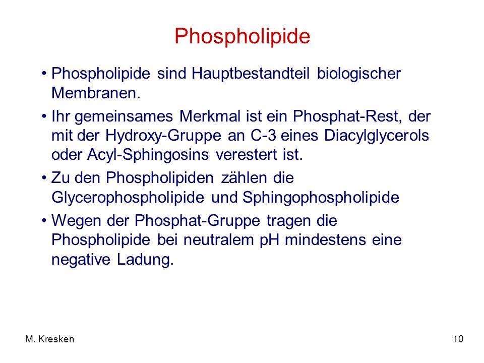 10M. Kresken Phospholipide Phospholipide sind Hauptbestandteil biologischer Membranen. Ihr gemeinsames Merkmal ist ein Phosphat-Rest, der mit der Hydr