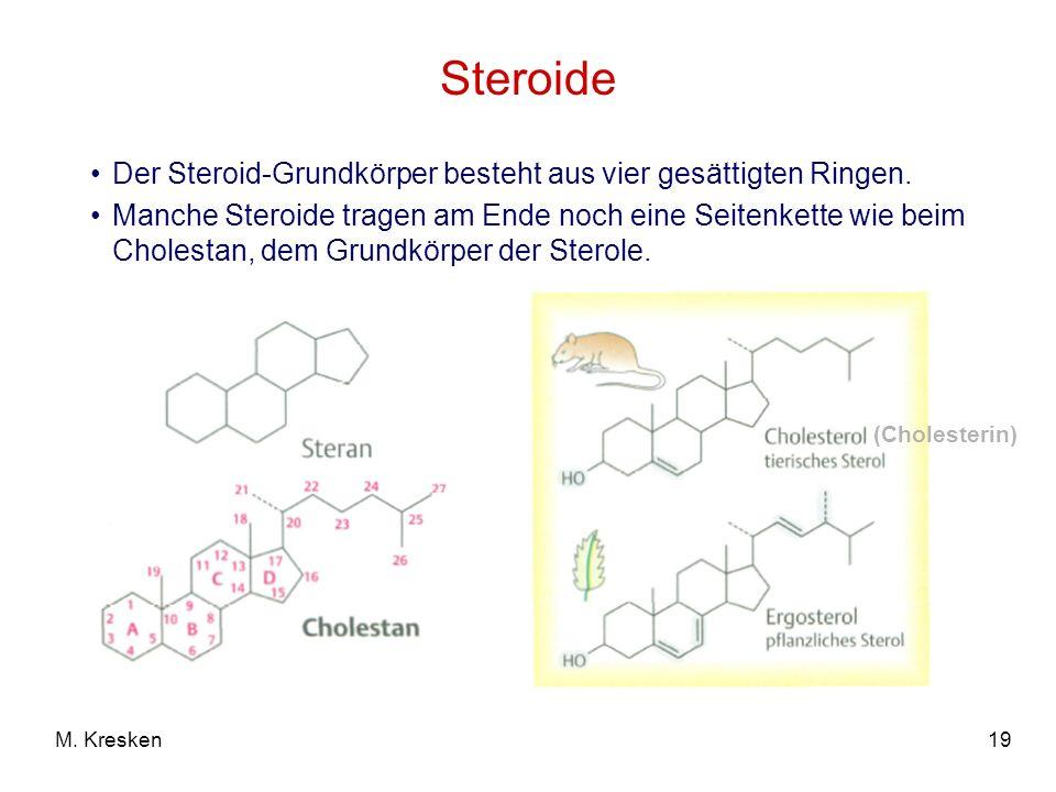19M. Kresken Steroide Der Steroid-Grundkörper besteht aus vier gesättigten Ringen. Manche Steroide tragen am Ende noch eine Seitenkette wie beim Chole
