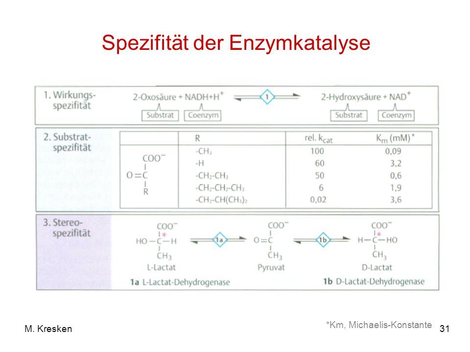 31M. Kresken Spezifität der Enzymkatalyse *Km, Michaelis-Konstante *