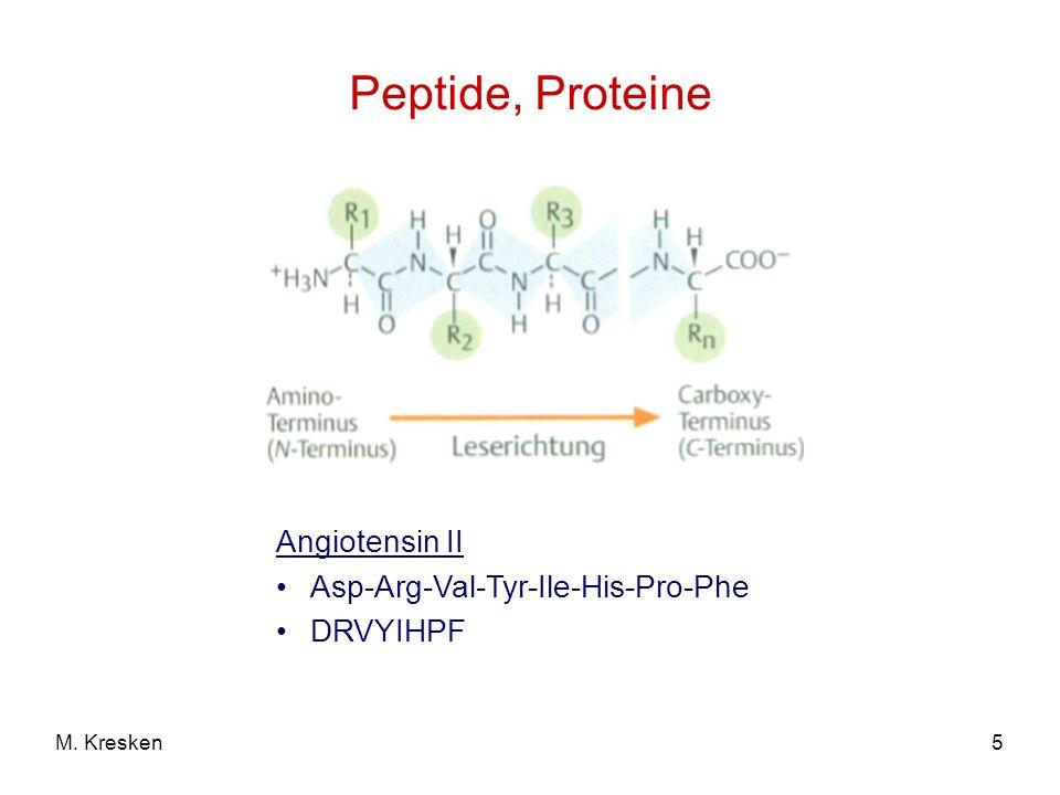 Peptide, Proteine Anzahl der verknüpften Aminosäuren (AS) BezeichnungBeispiel 2DipeptidPenicillinVal-Cys 3TripeptidGlutathionGlu-Cys-Gly Bis 10OligopeptidOcytocin9 AS (Oxytocin) Mehr als 10PolypeptidInsulin51 AS Mehr als 100Protein (Makropeptid) Hämoglobin