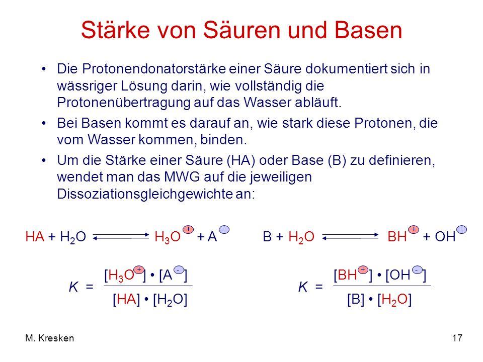 17M. Kresken Stärke von Säuren und Basen Die Protonendonatorstärke einer Säure dokumentiert sich in wässriger Lösung darin, wie vollständig die Proton