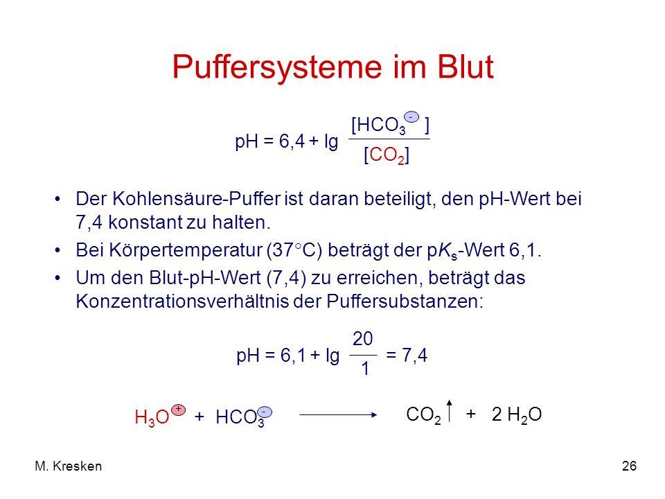 26M. Kresken Puffersysteme im Blut Der Kohlensäure-Puffer ist daran beteiligt, den pH-Wert bei 7,4 konstant zu halten. Bei Körpertemperatur (37°C) bet