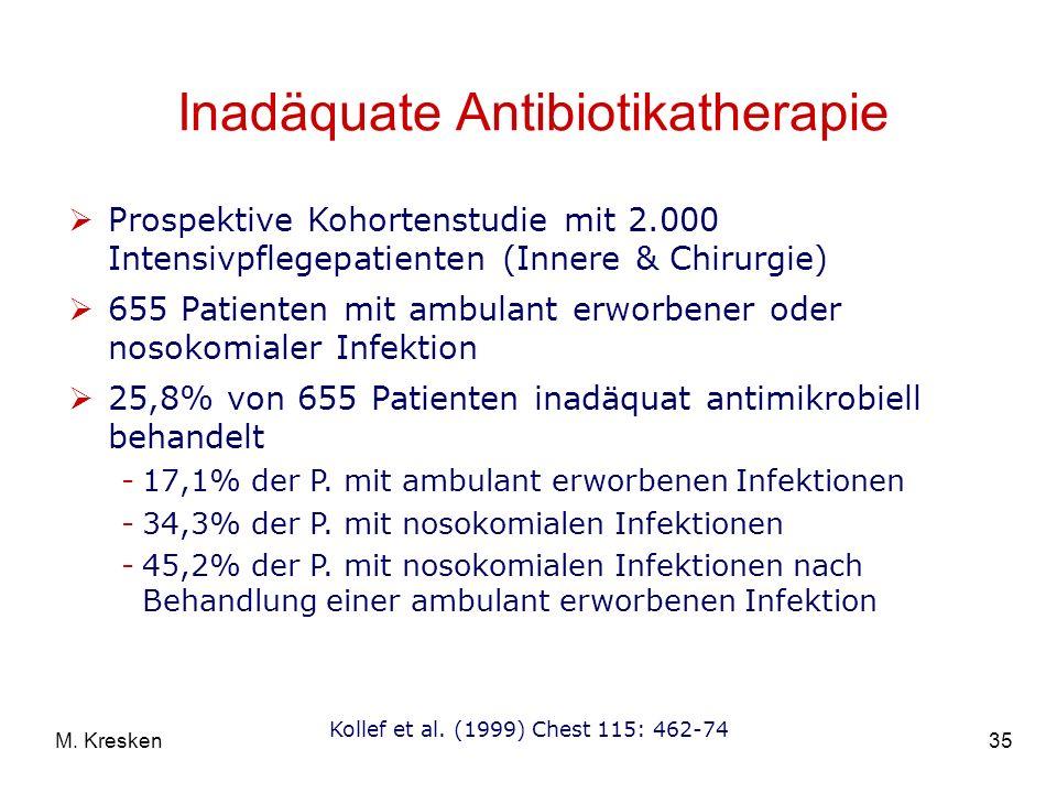 35M. Kresken Inadäquate Antibiotikatherapie Prospektive Kohortenstudie mit 2.000 Intensivpflegepatienten (Innere & Chirurgie) 655 Patienten mit ambula
