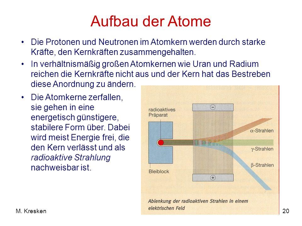 20M. Kresken Aufbau der Atome Die Protonen und Neutronen im Atomkern werden durch starke Kräfte, den Kernkräften zusammengehalten. In verhältnismäßig