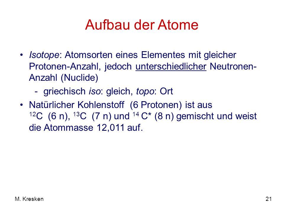 21M. Kresken Aufbau der Atome Isotope: Atomsorten eines Elementes mit gleicher Protonen-Anzahl, jedoch unterschiedlicher Neutronen- Anzahl (Nuclide) -
