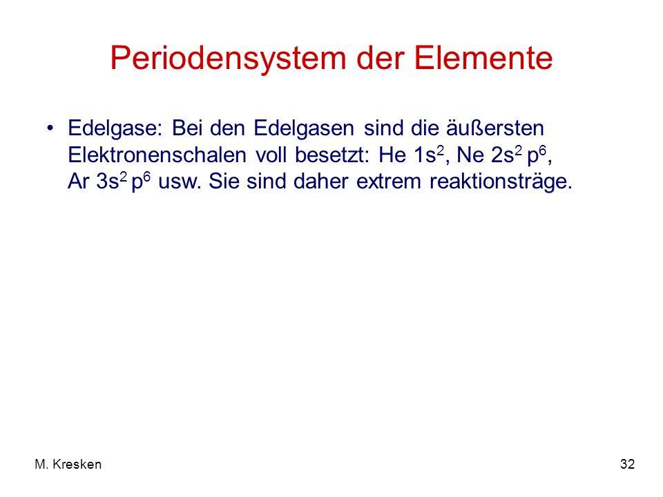 32M. Kresken Periodensystem der Elemente Edelgase: Bei den Edelgasen sind die äußersten Elektronenschalen voll besetzt: He 1s 2, Ne 2s 2 p 6, Ar 3s 2