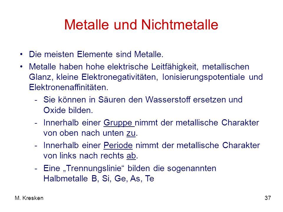 37M. Kresken Metalle und Nichtmetalle Die meisten Elemente sind Metalle. Metalle haben hohe elektrische Leitfähigkeit, metallischen Glanz, kleine Elek