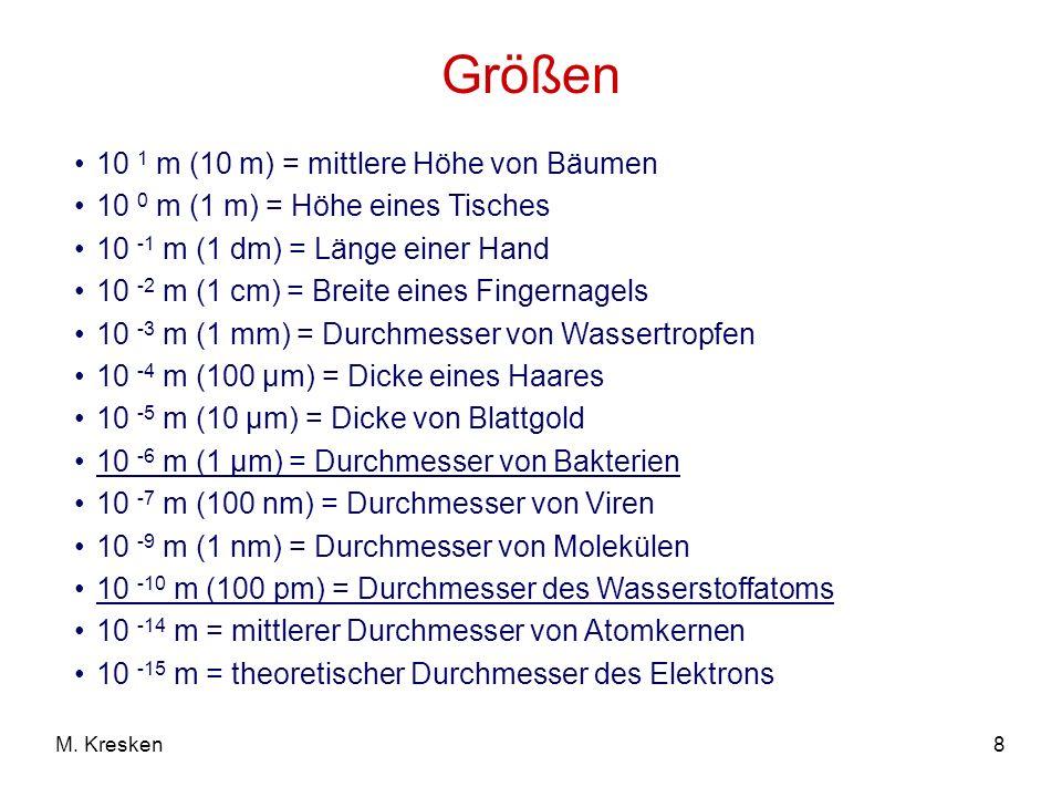 8M. Kresken Größen 10 1 m (10 m) = mittlere Höhe von Bäumen 10 0 m (1 m) = Höhe eines Tisches 10 -1 m (1 dm) = Länge einer Hand 10 -2 m (1 cm) = Breit