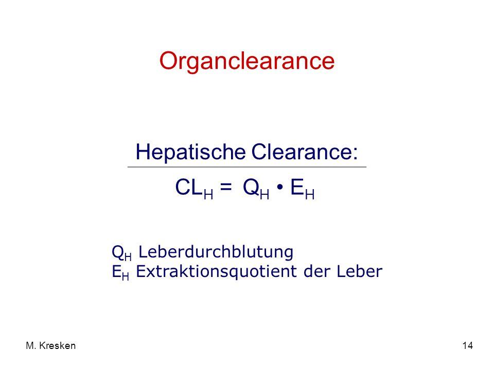 14M. Kresken Organclearance Hepatische Clearance: CL H =Q H E H Q H Leberdurchblutung E H Extraktionsquotient der Leber