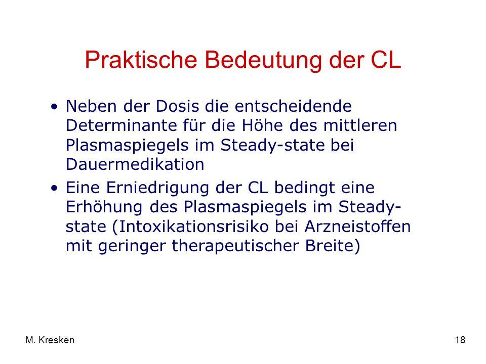 18M. Kresken Praktische Bedeutung der CL Neben der Dosis die entscheidende Determinante für die Höhe des mittleren Plasmaspiegels im Steady-state bei