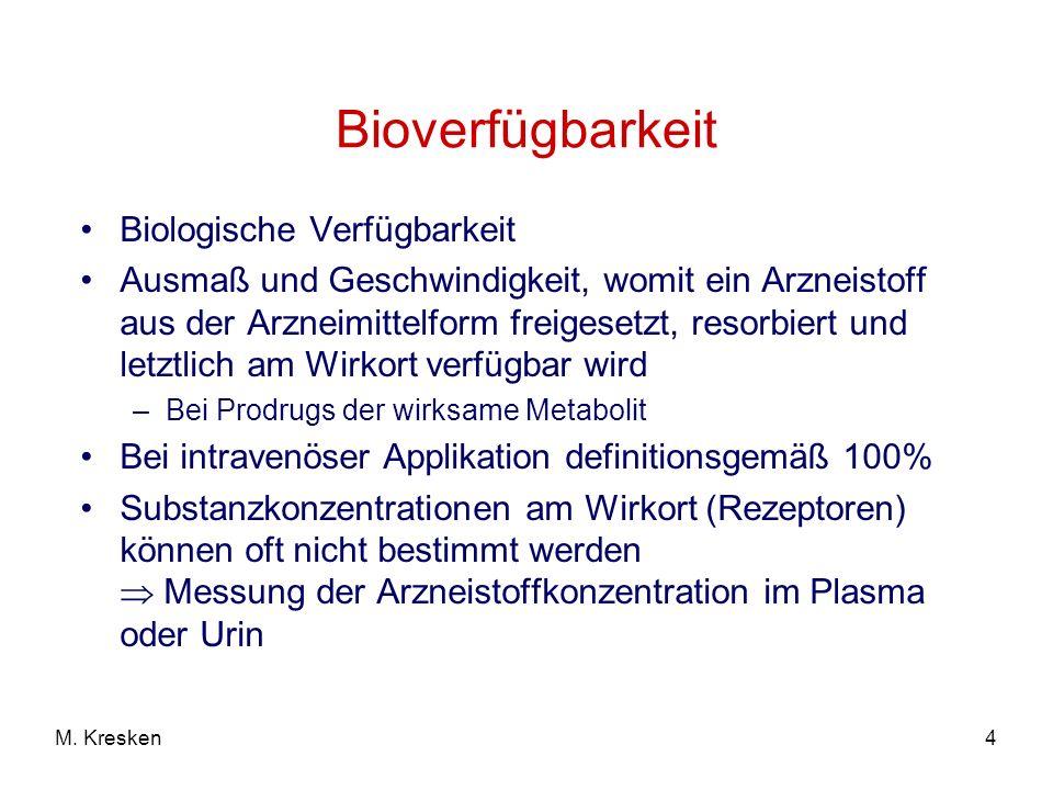 4M. Kresken Bioverfügbarkeit Biologische Verfügbarkeit Ausmaß und Geschwindigkeit, womit ein Arzneistoff aus der Arzneimittelform freigesetzt, resorbi