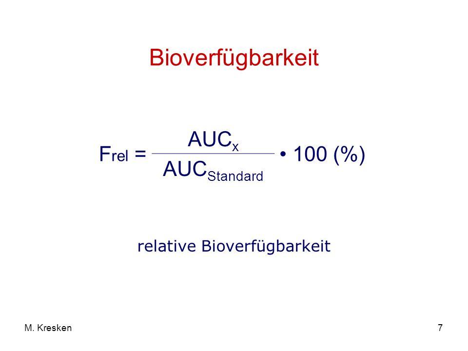 7M. Kresken Bioverfügbarkeit F rel = AUC x 100 (%) AUC Standard relative Bioverfügbarkeit