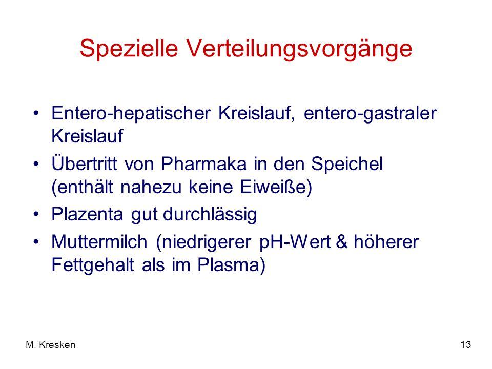 13M. Kresken Spezielle Verteilungsvorgänge Entero-hepatischer Kreislauf, entero-gastraler Kreislauf Übertritt von Pharmaka in den Speichel (enthält na