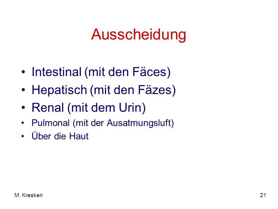 21M. Kresken Ausscheidung Intestinal (mit den Fäces) Hepatisch (mit den Fäzes) Renal (mit dem Urin) Pulmonal (mit der Ausatmungsluft) Über die Haut