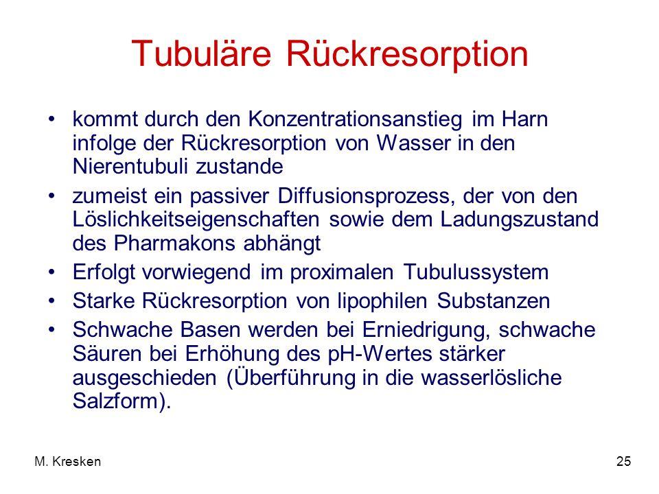 25M. Kresken Tubuläre Rückresorption kommt durch den Konzentrationsanstieg im Harn infolge der Rückresorption von Wasser in den Nierentubuli zustande