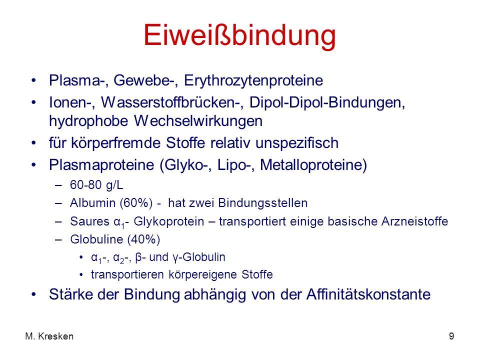 9M. Kresken Eiweißbindung Plasma-, Gewebe-, Erythrozytenproteine Ionen-, Wasserstoffbrücken-, Dipol-Dipol-Bindungen, hydrophobe Wechselwirkungen für k