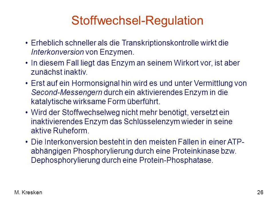 26M. Kresken Stoffwechsel-Regulation Erheblich schneller als die Transkriptionskontrolle wirkt die Interkonversion von Enzymen. In diesem Fall liegt d