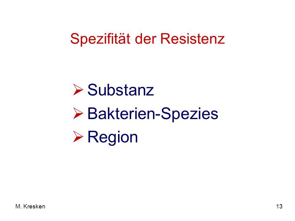 13M. Kresken Spezifität der Resistenz Substanz Bakterien-Spezies Region