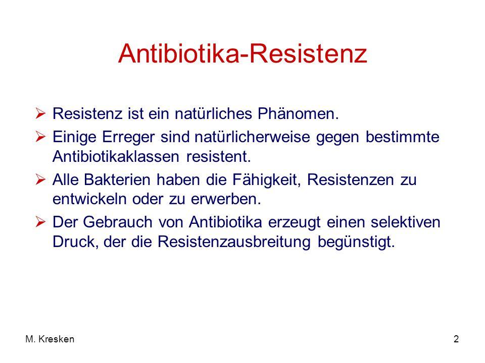 2M. Kresken Antibiotika-Resistenz Resistenz ist ein natürliches Phänomen. Einige Erreger sind natürlicherweise gegen bestimmte Antibiotikaklassen resi