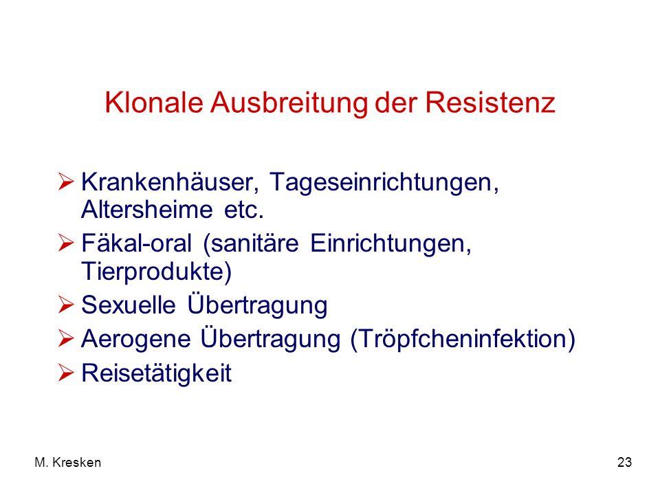 23M. Kresken Klonale Ausbreitung der Resistenz Krankenhäuser, Tageseinrichtungen, Altersheime etc. Fäkal-oral (sanitäre Einrichtungen, Tierprodukte) S