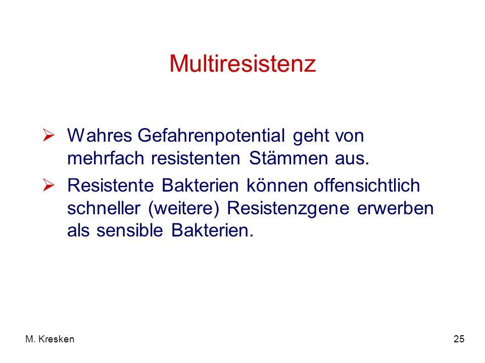 25M. Kresken Multiresistenz Wahres Gefahrenpotential geht von mehrfach resistenten Stämmen aus. Resistente Bakterien können offensichtlich schneller (