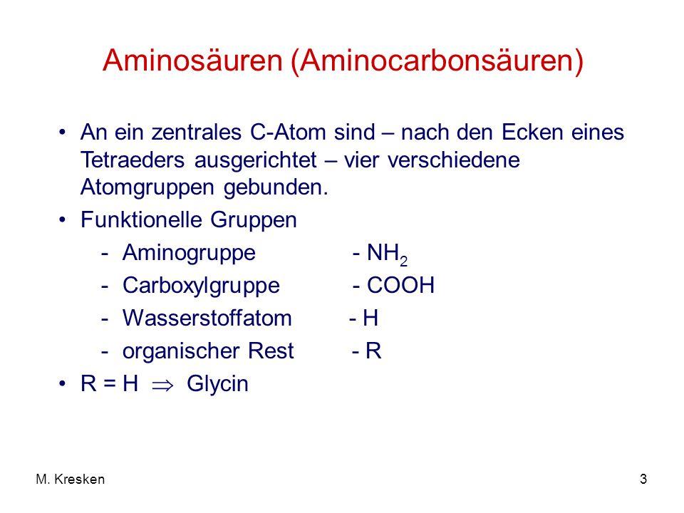 3M. Kresken Aminosäuren (Aminocarbonsäuren) An ein zentrales C-Atom sind – nach den Ecken eines Tetraeders ausgerichtet – vier verschiedene Atomgruppe
