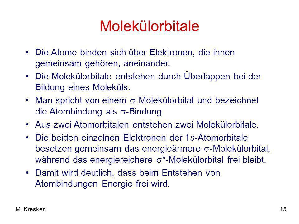13M. Kresken Molekülorbitale Die Atome binden sich über Elektronen, die ihnen gemeinsam gehören, aneinander. Die Molekülorbitale entstehen durch Überl