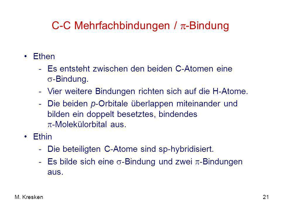 21M. Kresken C-C Mehrfachbindungen / -Bindung Ethen -Es entsteht zwischen den beiden C-Atomen eine -Bindung. -Vier weitere Bindungen richten sich auf