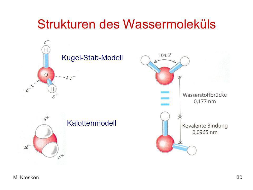 30M. Kresken Strukturen des Wassermoleküls Kugel-Stab-Modell Kalottenmodell