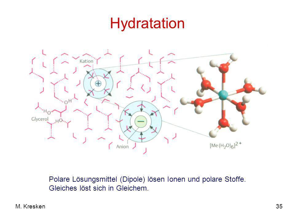 35M. Kresken Hydratation Polare Lösungsmittel (Dipole) lösen Ionen und polare Stoffe. Gleiches löst sich in Gleichem.