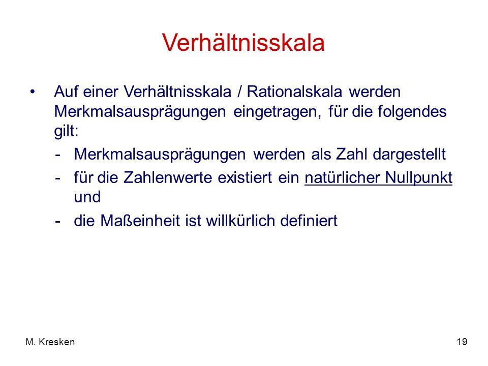 19M. Kresken Verhältnisskala Auf einer Verhältnisskala / Rationalskala werden Merkmalsausprägungen eingetragen, für die folgendes gilt: -Merkmalsauspr