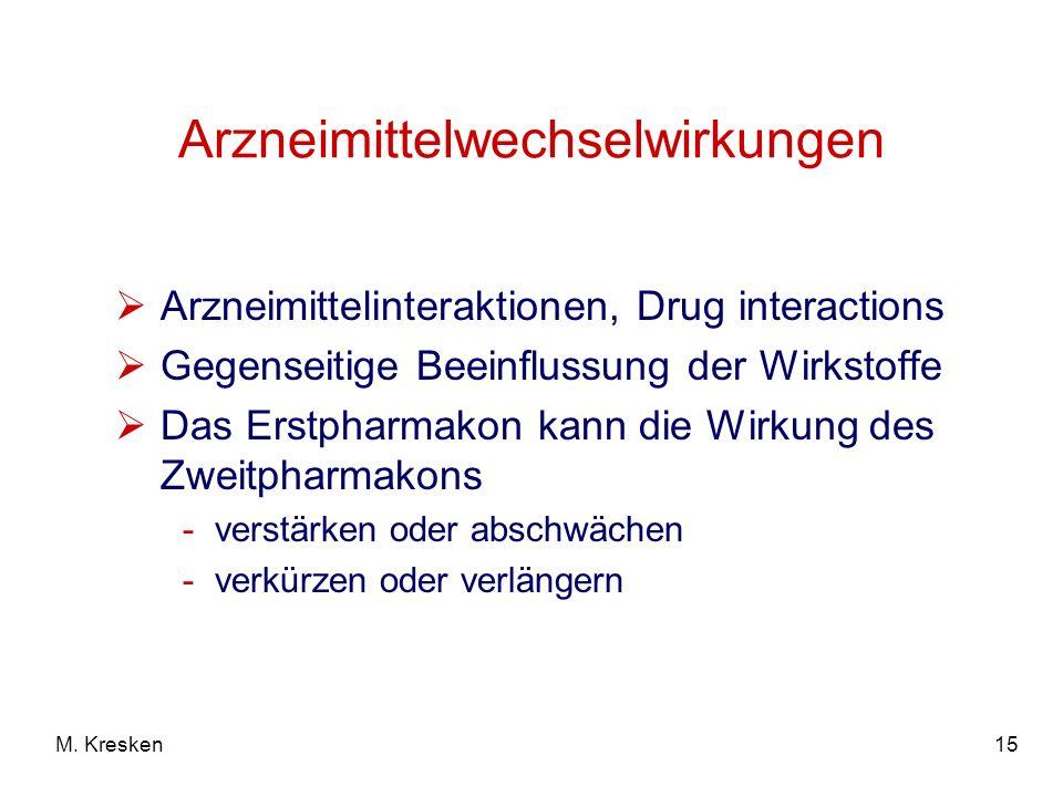 15M. Kresken Arzneimittelwechselwirkungen Arzneimittelinteraktionen, Drug interactions Gegenseitige Beeinflussung der Wirkstoffe Das Erstpharmakon kan