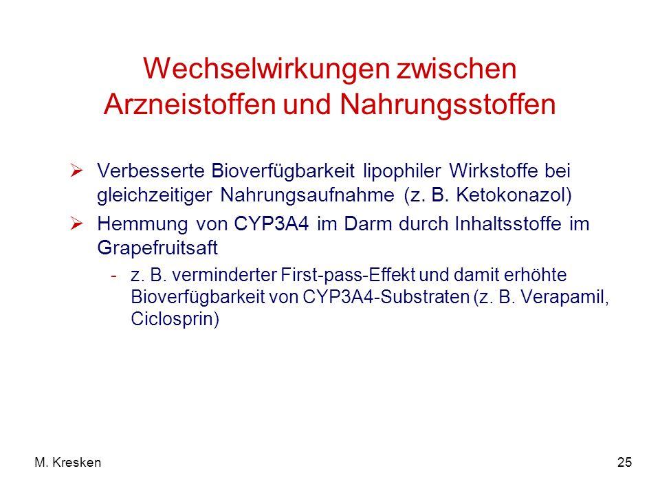 25M. Kresken Wechselwirkungen zwischen Arzneistoffen und Nahrungsstoffen Verbesserte Bioverfügbarkeit lipophiler Wirkstoffe bei gleichzeitiger Nahrung
