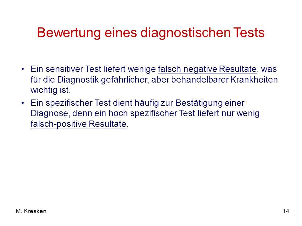 14M. Kresken Bewertung eines diagnostischen Tests Ein sensitiver Test liefert wenige falsch negative Resultate, was für die Diagnostik gefährlicher, a