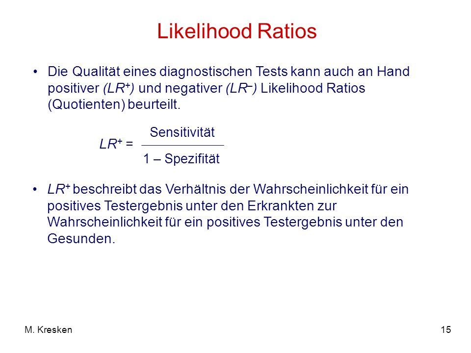 15M. Kresken Likelihood Ratios Die Qualität eines diagnostischen Tests kann auch an Hand positiver (LR + ) und negativer (LR – ) Likelihood Ratios (Qu