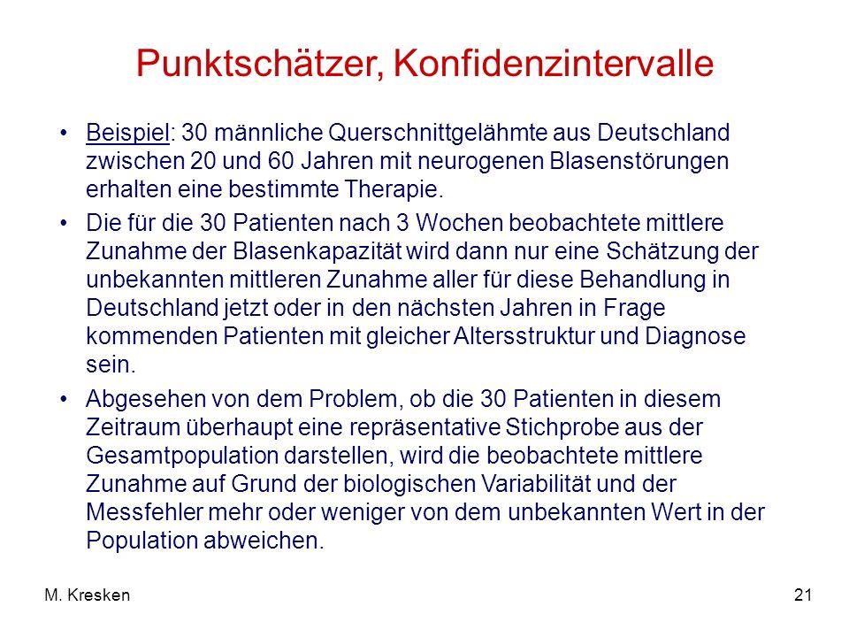 21M. Kresken Punktschätzer, Konfidenzintervalle Beispiel: 30 männliche Querschnittgelähmte aus Deutschland zwischen 20 und 60 Jahren mit neurogenen Bl