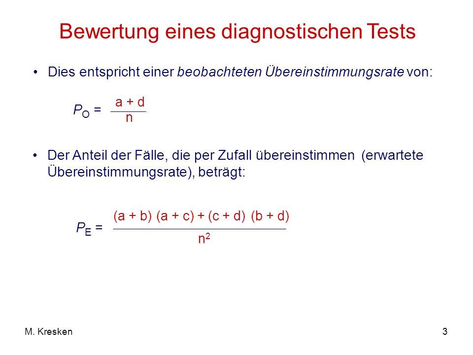 3M. Kresken Bewertung eines diagnostischen Tests Dies entspricht einer beobachteten Übereinstimmungsrate von: P O = a + d n Der Anteil der Fälle, die
