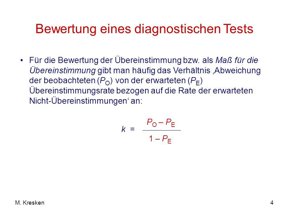 4M. Kresken Bewertung eines diagnostischen Tests Für die Bewertung der Übereinstimmung bzw. als Maß für die Übereinstimmung gibt man häufig das Verhäl